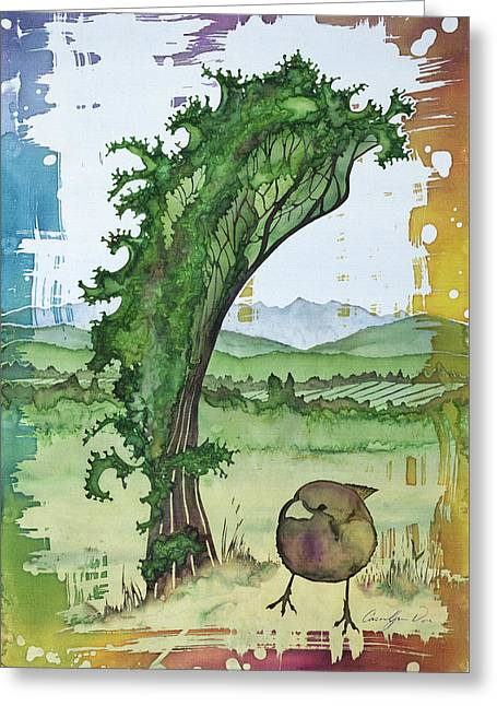 Farming Tapestries - Textiles Greeting Cards - A Kale Leaf and a Little Bird Greeting Card by Carolyn Doe