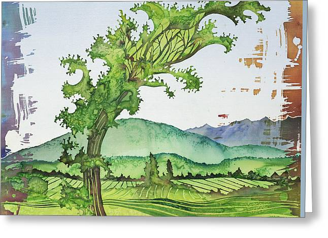 Farming Tapestries - Textiles Greeting Cards - A Kale Leaf Visits the Country Greeting Card by Carolyn Doe