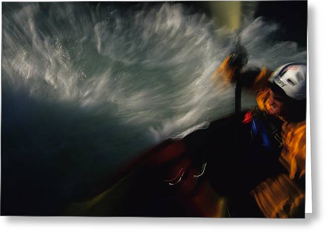20-25 Years Greeting Cards - A Kayaker Negotiates Rapids Greeting Card by Bobby Model