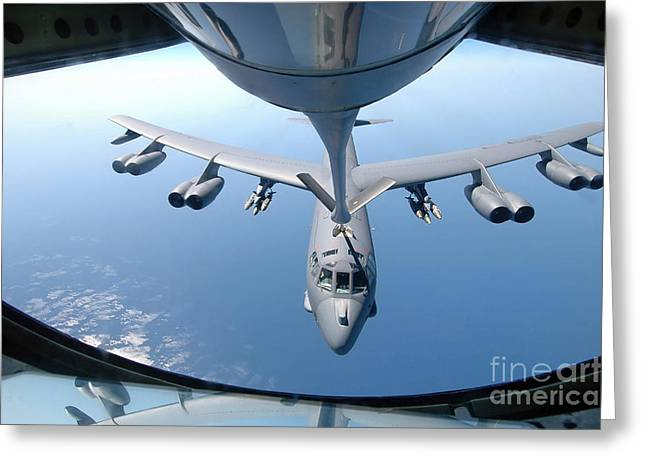Best Sellers -  - Mechanism Photographs Greeting Cards - A Kc-135 Stratotanker Refuels A B-52 Greeting Card by Stocktrek Images
