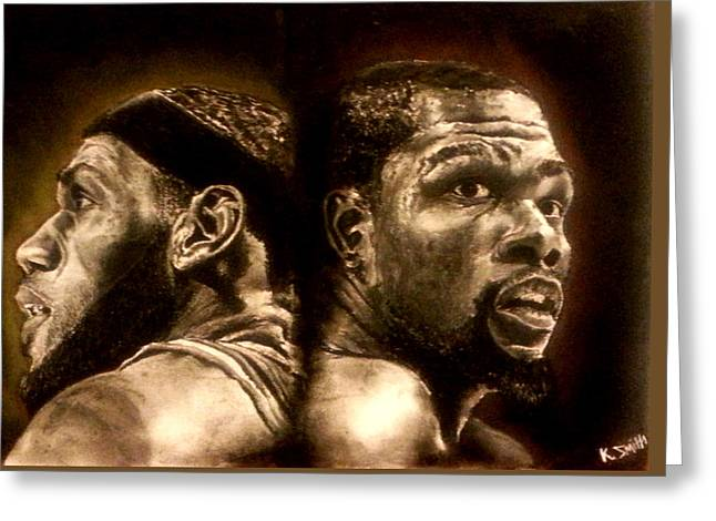 Nba Pastels Greeting Cards - A King And A Prince Greeting Card by Cassandra Smith