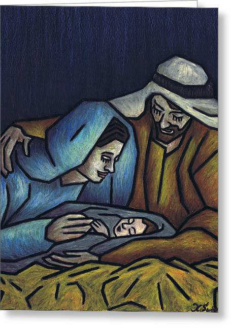Oil Pastels Pastels Greeting Cards - A King is Born Greeting Card by Kamil Swiatek