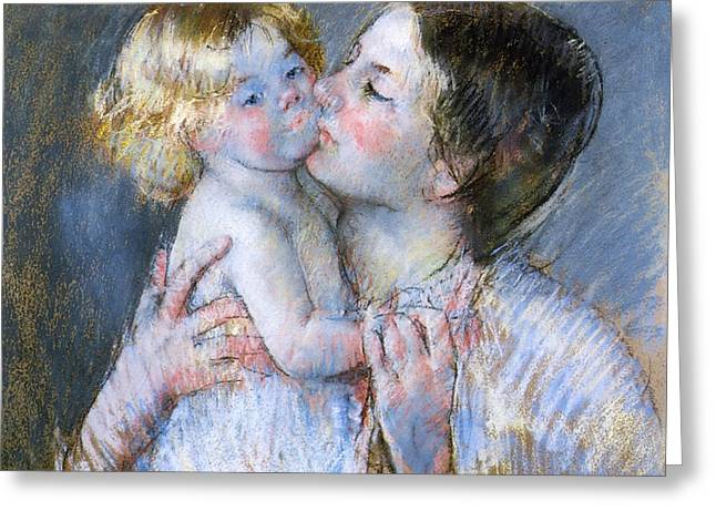 A Kiss For Baby Anne Greeting Card by Mary Stevenson Cassatt