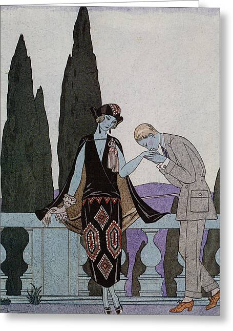Dated Drawings Greeting Cards - A Kiss Greeting Card by Georges Barbier