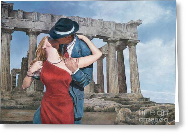 Recently Sold -  - Popular Art Greeting Cards - A Kiss Is Just A Kiss Greeting Card by Theo Michael