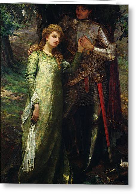 A Knight And His Lady Greeting Card by William G Mackenzie