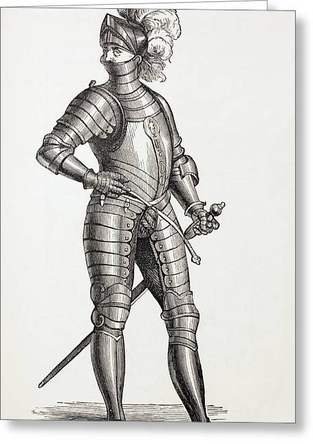 Full Body Drawings Greeting Cards - A Knight In Complete Armour In The 15th Greeting Card by Ken Welsh