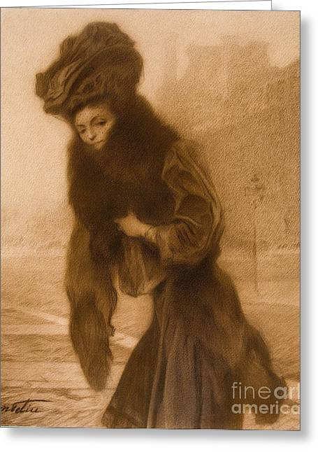 1907 Greeting Cards - A lady Greeting Card by Celestial Images