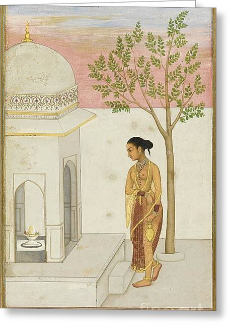 Lingam Greeting Cards - a Lady Going to Worship at a Lingam Shrine Greeting Card by Celestial Images