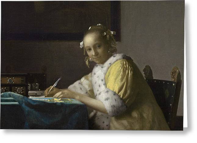 A Lady Writing Greeting Card by Jan Vermeer