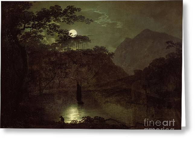 Lake Paintings Greeting Cards - A Lake by Moonlight Greeting Card by Joseph Wright of Derby