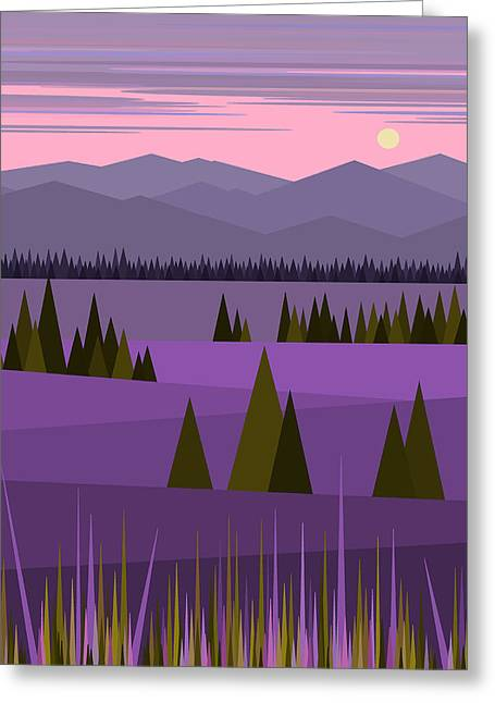A Lake In The Mountains -  Pink Sky Greeting Card by Val Arie