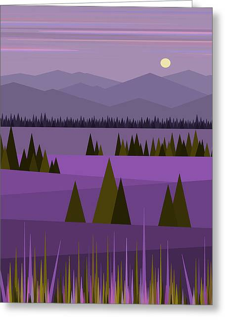 Moonrise Greeting Cards - A Lake in the Mountains Greeting Card by Val Arie