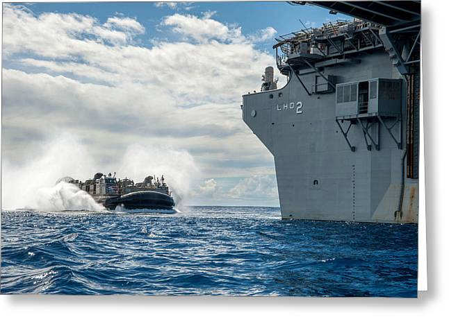 Uss Essex Greeting Cards - A landing craft air cushion Greeting Card by Celestial Images