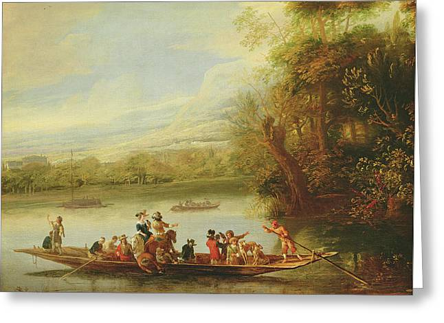 A Landscape With A Crowded Ferry Crossing The Water In The Foreground  Greeting Card by Willem Schellinks
