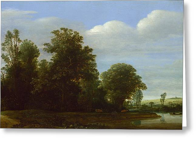 Vroom Greeting Cards - A Landscape with a River by a Wood Greeting Card by Cornelis Vroom