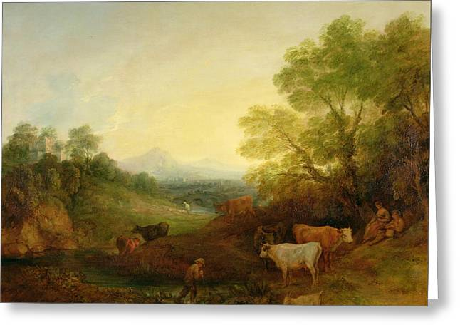 Moo Moo Greeting Cards - A Landscape with Cattle and Figures by a Stream and a Distant Bridge Greeting Card by Thomas Gainsborough