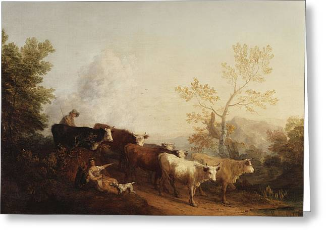 Homecoming Greeting Cards - A Landscape with Cattle returning Home Greeting Card by Thomas Gainsborough