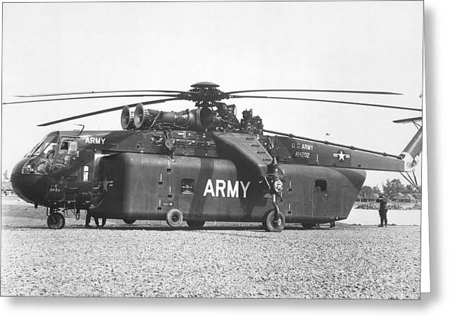 Sikorsky Greeting Cards - A Large Ch-54 Skycrane Helicopter Used Greeting Card by Stocktrek Images