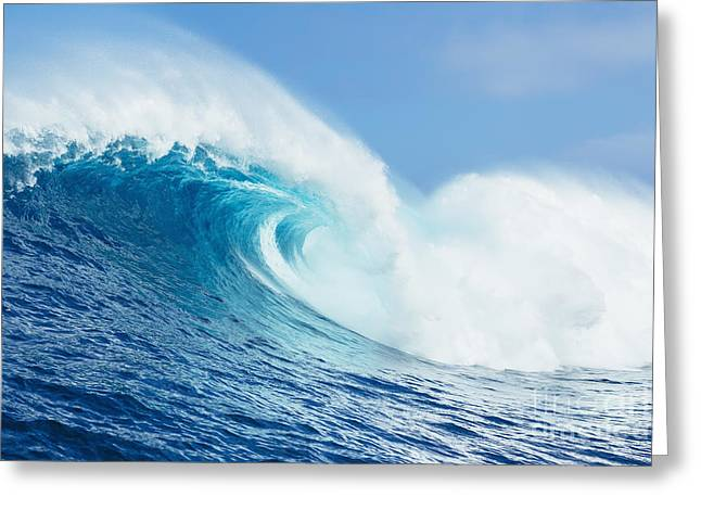 Surfing Photos Greeting Cards - A Large Ocean Wave Breaks At The Big Greeting Card by MakenaStockMedia