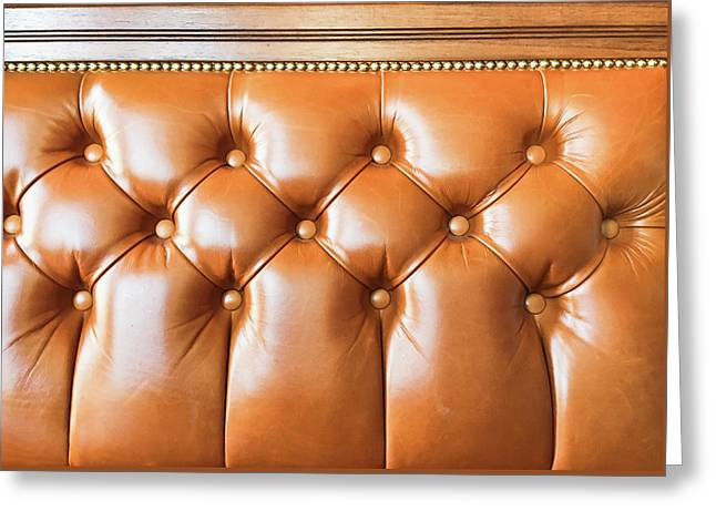 A Leather Seat Greeting Card by Tom Gowanlock