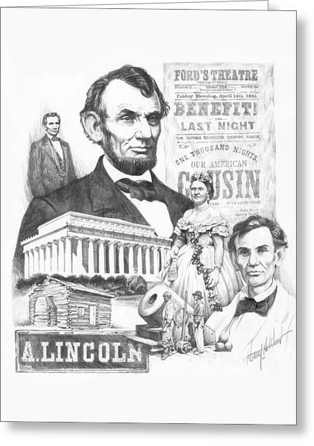 Abe Drawings Greeting Cards - A. Lincoln Greeting Card by Harry West