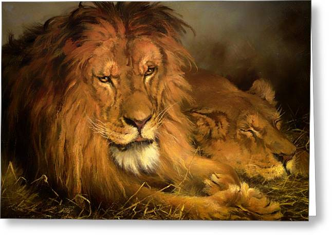 Lioness Greeting Cards - A Lion And A Lioness Greeting Card by Geza Vastagh