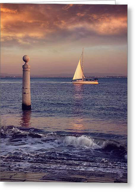 A Lisbon Sunset By The Tagus River Greeting Card by Carol Japp