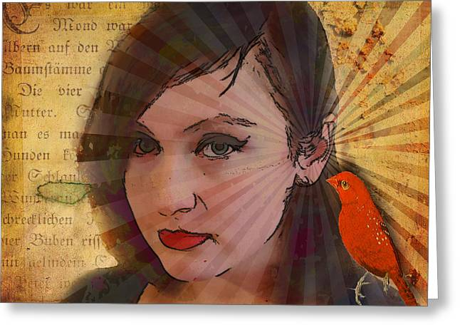 Technical Mixed Media Greeting Cards - A Little Birdie Told Me Greeting Card by Bellesouth Studio