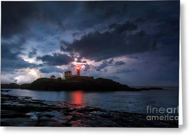 Cape Neddick Lighthouse Greeting Cards - A little Extra Light Greeting Card by Scott Thorp