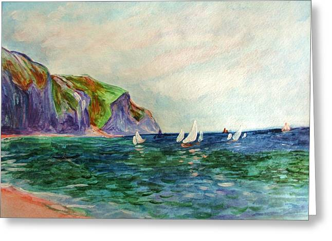 Beach Photographs Paintings Greeting Cards - A little Monet Greeting Card by Julie Lueders