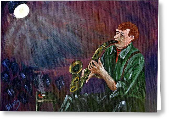 A Little Sax Greeting Card by Donna Blackhall