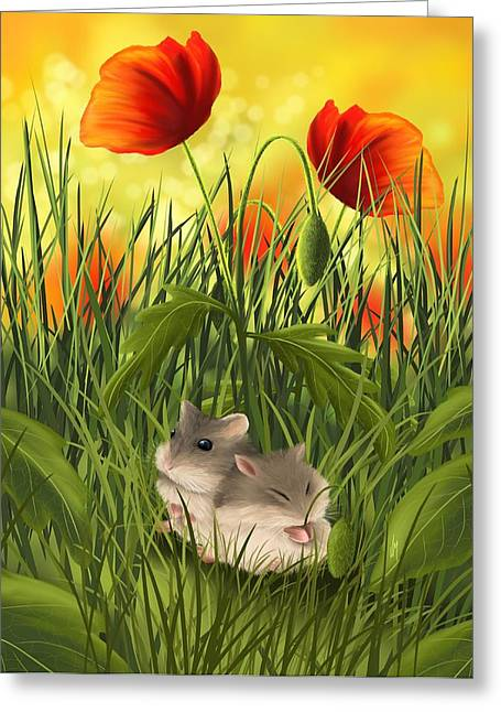 Poppies Field Paintings Greeting Cards - A little sleep Greeting Card by Veronica Minozzi