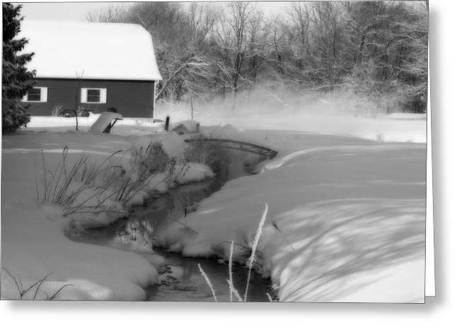 White River Greeting Cards - A Little Slice  black and white Greeting Card by Cathy  Beharriell
