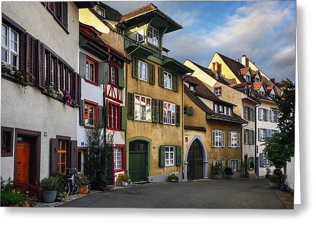 City Lights Greeting Cards - A Little Swiss Street Greeting Card by Carol Japp