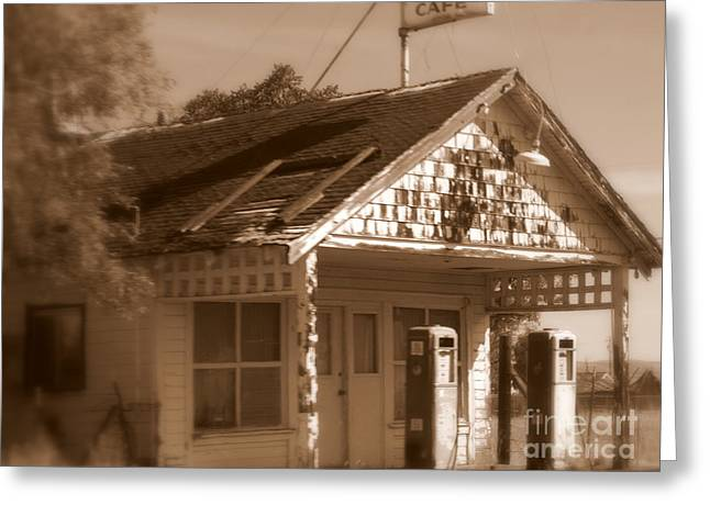 Old Cafe Greeting Cards - A Little Weathered Gas Station Greeting Card by Carol Groenen