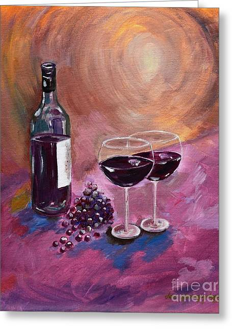 Red Wine Bottle Greeting Cards - A little Wine on my Canvas - Wine - Grapes Greeting Card by Jan Dappen