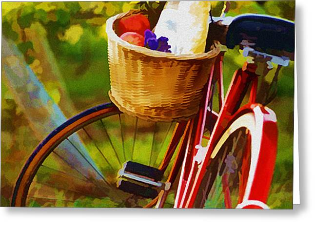 A Loaf of Bread a Jug of Wine and a Bike Greeting Card by Elaine Plesser