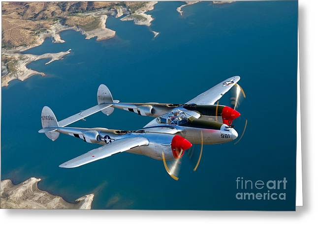 Person Greeting Cards - A Lockheed P-38 Lightning Fighter Greeting Card by Scott Germain
