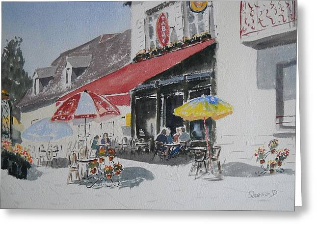 Chaise Greeting Cards - A Lombre Dune  Terrasse Dun  Cafe  Shadow Of An Outdoor Pub Greeting Card by Dominique Serusier