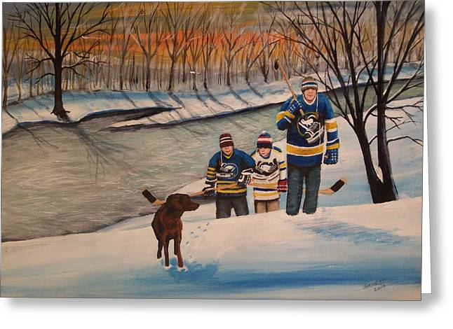 Youth Hockey Paintings Greeting Cards - A Long Day Greeting Card by Ron  Genest