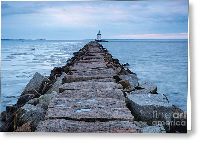 New England Ocean Greeting Cards - A Long, Granite Road Greeting Card by JG Coleman