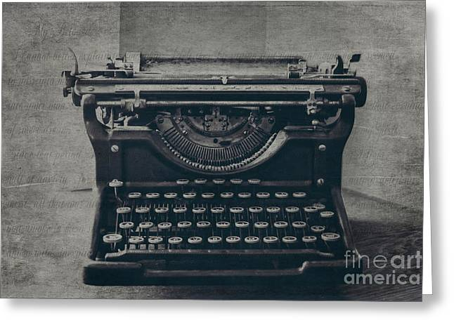 Typewriter Keys Photographs Greeting Cards - A Loss of Words Greeting Card by Emily Kay