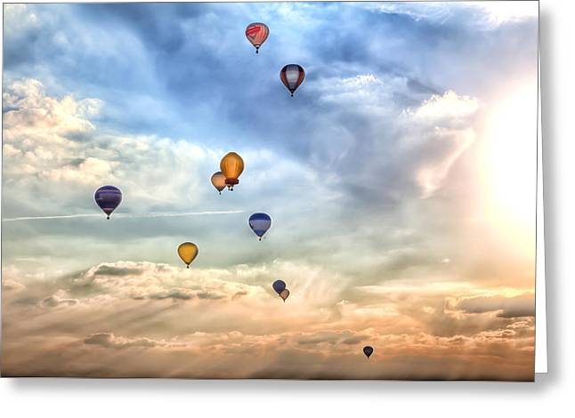 Mechanically Greeting Cards - A Lot Of Colorful Hot-air Balloons Greeting Card by Regina Koch