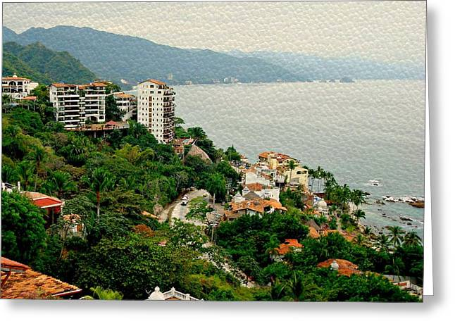 Puerto Vallarta Digital Greeting Cards - A Lovely View Greeting Card by Kathy Bucari