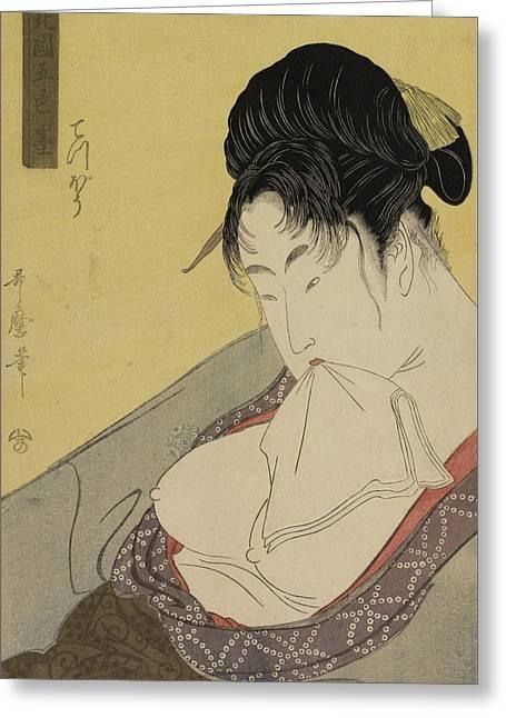 A Low Class Prostitute Greeting Card by Kitagawa Utamaro