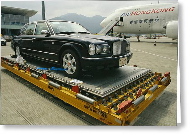 Flyer Greeting Cards - A Luxury Bentley Unloaded From An Greeting Card by Justin Guariglia