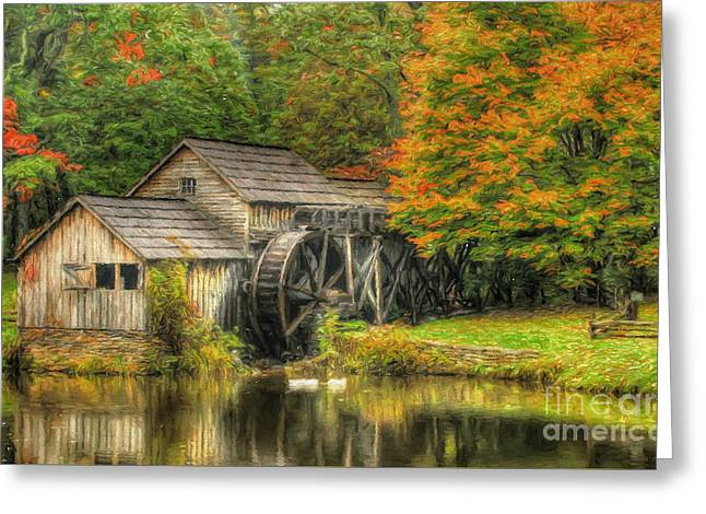 A Mabry Mill Autumn Greeting Card by Darren Fisher
