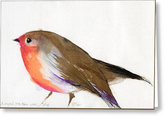 Robin Greeting Cards - A magical little robin called Wisp Greeting Card by Nancy Moniz