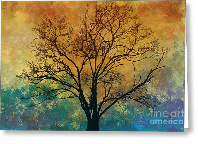 Magnificent Landscape Greeting Cards - A Magnificent Tree Greeting Card by Bedros Awak